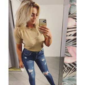 Top pom taupe