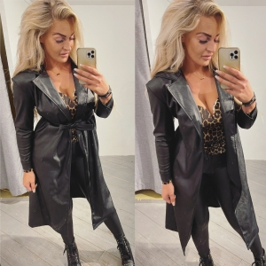 Leather trench long black