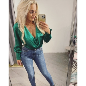 Satin waterval blouse green